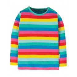 Top - Frugi - Everything -  Long sleeve - Flamingo Pink Rainbow - Multi Stripe -  2-3y last one - 45% off clearance  sale