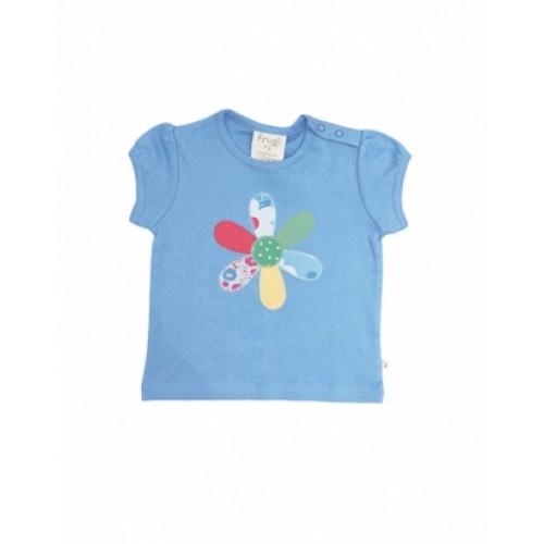 Top - Frugi - Baby Girls - Surf Blue/ Flower in SALE 0-3 m last one