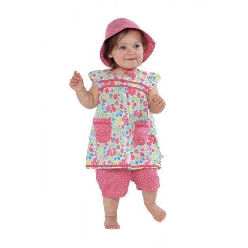 Hat - Frugi  Reversible Ditsy sun Hat 0-6m - last one
