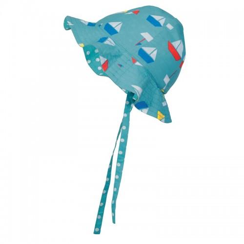 Hat - Frugi Reversible Ditsy sun hat - Aqua Sailboats 0-6m last one