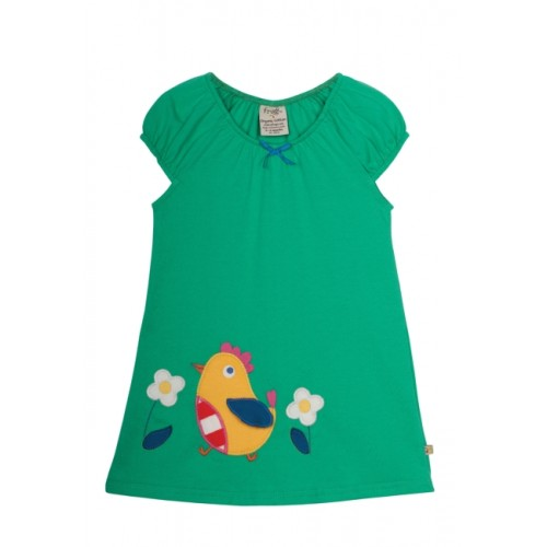 Dress - Frugi Little Lola Dress in Green / Henny Chick in SALE  3-6, 6-12m