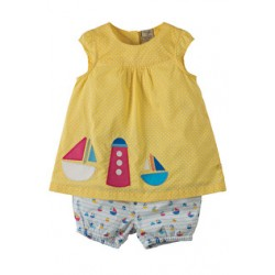 Set - Frugi Orla - Sun Yellow Pin Spot/Boat  - in SALE - 6-12 , 12-18, 2-3y, 3-4y