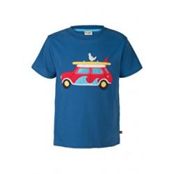 Top - Frugi Stanley - Ink/Surf Car- in SALE - 5-6, 6-7, 7-8, 8-9y