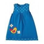 Dress - Frugi Little Lamorna Reversible Dress - Sail Blue Bud / Chick - 12-18m last in sale