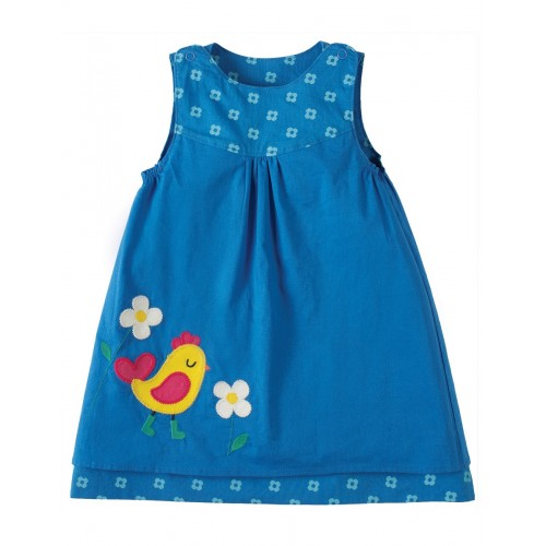 Dress - Frugi Little Lamorna Reversible Dress - Sail Blue Bud / Chick - last in sale -, 18-24