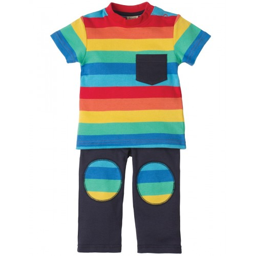 Set - Frugi - Play Days Outfit - Rainbow Boys Stripe - 18-24m