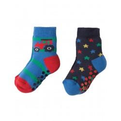 Socks - Frugi Grippy Socks 2 Pack - Tractor Multipack 0-6 (1x), 2-4y (1x)