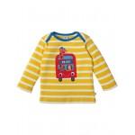 Top - Frugi Bobby Applique Top - Sun Yellow Breton/Bus - now in sale -  3-6m, 12-18m