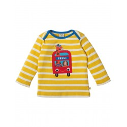 Top - Frugi Bobby Applique Top - Sun Yellow Breton/Bus - now in sale -  3-6m, 12-18m