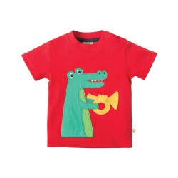 Top - Frugi Little Creature - Tomato/Croc 6-12, 12-18, 18-24, 2-3y
