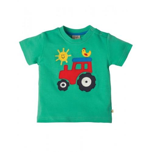 Top - Frugi Little Wheels  - Green tractor 3-4y  - sale - last one