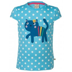 Top - Frugi Poldhu Applique Top -  Sky Polka/Cat - IN SALE - 5-6Y