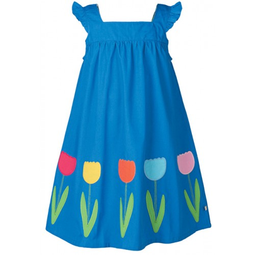 Dress - Frugi Celia Dress - Sail Blue/Flower in SALE -  5-6 , 6-7, 7-8, 9-10y