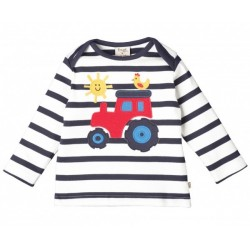Top - Frugi Bobby - Navy white stripe -  Tractor - independent shops only - 0-3 , 3-6, 6-12 - sale