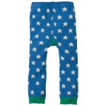Leggings - Frugi Little Knitted Leggings - Sail Blue Stars and chick - 6-12m,  2-4y - sale