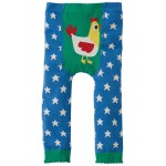 Leggings - Frugi Little Knitted Leggings - Sail Blue Stars and chick - 6-12m, - Sale last one