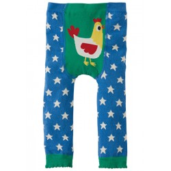 Leggings - Frugi Little Knitted Leggings - Sail Blue Stars and chick - 6-12m, - Sale last one