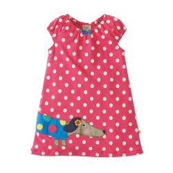 Dress - Frugi Little Lola Dress - Raspberry Polka/Dog 6-12m, 12-18,- sale