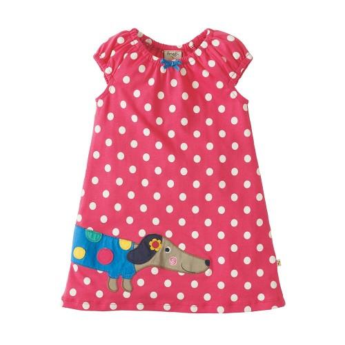 Dress - Frugi Little Lola Dress - Raspberry Polka/Dog 6-12m, 12-18, 18-24m - sale