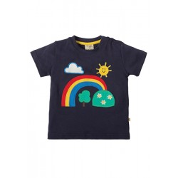 Top - Frugi Little Creature - Navy/Rainbow 3-6, 6-12 - sale