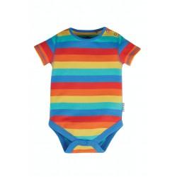 Body - Frugi - Everyday - Short Sleeve Body - Rainbow Stripe   0-3,3-6m and 2-3y- sale