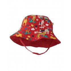 Hat - Frugi - Dexter - Reversible Sun Hat - True Red India - SS21 - sale