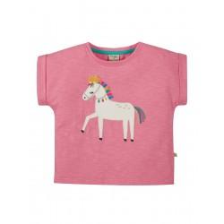 Top - Frugi - Sophia - Slub T-shirt - Mid Pink  - Horse  - SS21