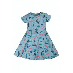 Dress - Frugi - Skater - Bengal Blue  Bay -  Short Sleeved  - 0-3, 12-18, 18-24m and  2-3, 3-4, 4-5, 5-6, 6-7, 7-8, 9-10 yr - limited stock left - sale