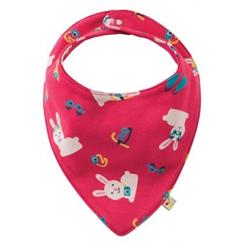 Bib - Frugi - Dribble Bib - Pink Bunny - last one now in sale