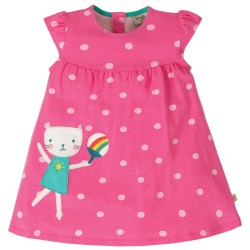 Dress - Frugi  - Lola  - Little Lola - Flamingo Pink and Dot  Cat -  last size 18-24m at - 45% off clearance sale