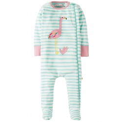 Babygrow - Frugi - Zipped - SS18 - drop 3-  Seagreen Breton/Flamingo- 0-3, 3-6, 6-12