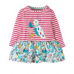 Dress - Frugi - Hetty - Pink Tiny Breton/Bird 2-3y (2x)