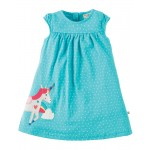 Dress - Frugi Lola - Turquoise Spot/Unicorn - 6-12m, 12-18, 18-24m and 2-3, 3-4y