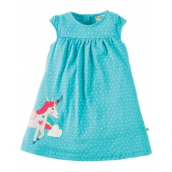 Dress - Frugi Lola - Turquoise Spot/Unicorn - 6-12m, 12-18m, 18-24m