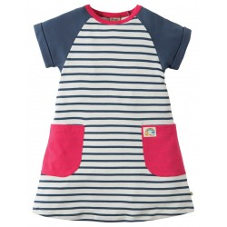 Dress - Frugi - Hop Scotch Tunic Dress - SS18 drop 3- - Soft White Breton - 4-5, 5-6, 6-7, 7-8, 8-9, 9=10y