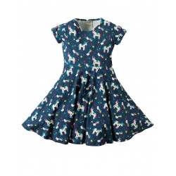Dress - Frugi Spring Skater Dress - Magic Rainbow - 2-3, 3-4, 4-5, 5-6, 6-7, 7-8, 8-9, 9-10