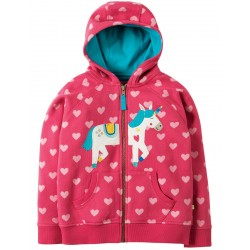 Hoody - Frugi Heather - Sweet Heart/Unicorn - 2-3, 3-4, 4-5, 5-6