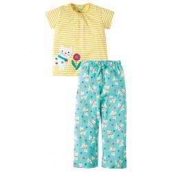 Pj - Frugi - Peony PJs - Yellow stripe /cat - 4-5, 5-6y, 9-10y
