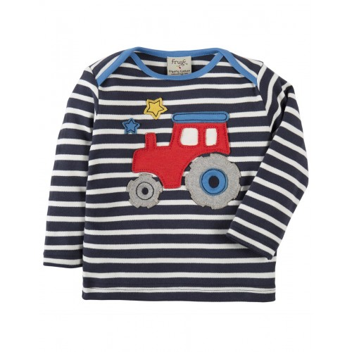 Top - Frugi Bobby - Navy Breton/Tractor-  12-18, 18-24m and 3-4y  -sale