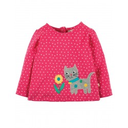 Top - Frugi Connie - Pink Spot cat - 18-24, 2-3,y - sale