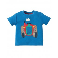 Top - Frugi - Wheels  - Sail Blue/Tractor - 0-3, 3-6, 12-18m and 2-3, 3-4y