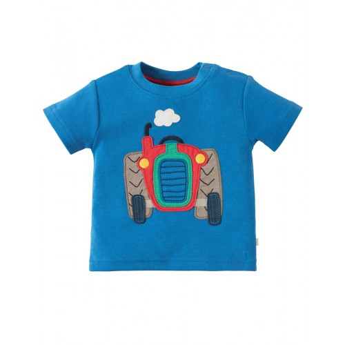 Top - Frugi - Wheels  - Sail Blue tractor - 0-3, 3-6m. and 2-3, 3-4y - sale