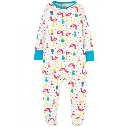 Babygrow - Frugi - Flamingo Party - NB, 0-3, 3-6