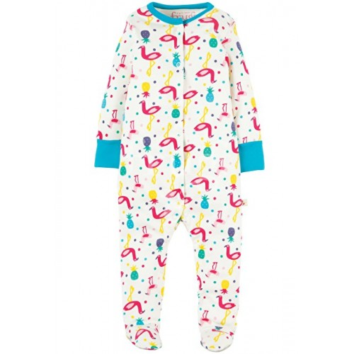 Babygrow - Frugi - SS18 - drop 3 - Flamingo Party - NB, 0-3, 3-6, 6-12