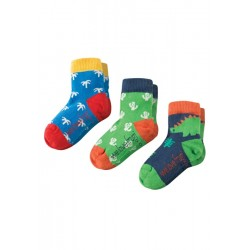 Socks - Frugi - Little Socks 3 Pack - DIno - 0-6, 6-12m and 1-2y and 2-4y