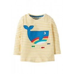 Top - Frugi - Everest Applique Top -  Yellow Whale -  18-24m - last one in sale