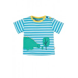 Top - Frugi - Felix Wrap Around Top - Sky Breton/Dino -  12-18, 18-24m -  2x left in sale