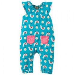 Playsuit - Frugi - Dory Gathered Playsuit - Llama Leap - 0-3, 12-18 ,18-24m and 2-3y