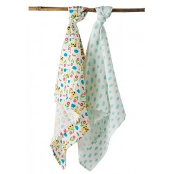 Muslin - Frugi Lovely 2 Pack Muslin - giraffe and clouds  - sale