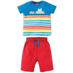 Set - Frugi - Porthleven Outfit - Sail blue hippo -  12-18, 18-24 m and 2-3y